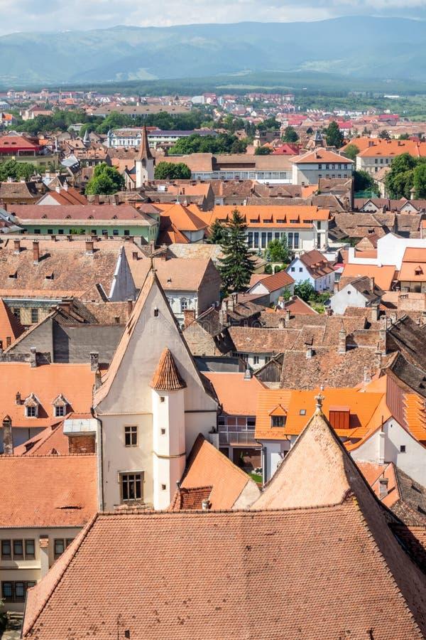 Panorama de Sibiu, la Transylvanie, Roumanie, de la tour du saint Mary Lutheran Cathedral image stock