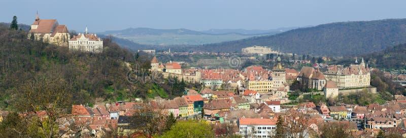 Panorama de Sighisoara fotos de archivo