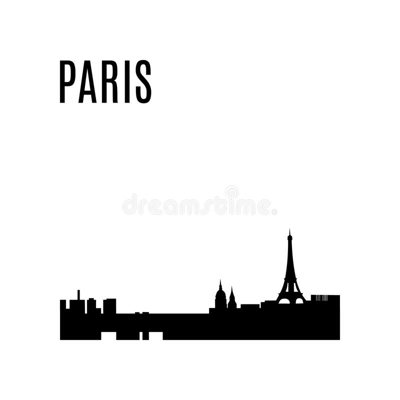 Panorama de silhouette de noir d'horizon de ville de Paris de vecteur illustration de vecteur