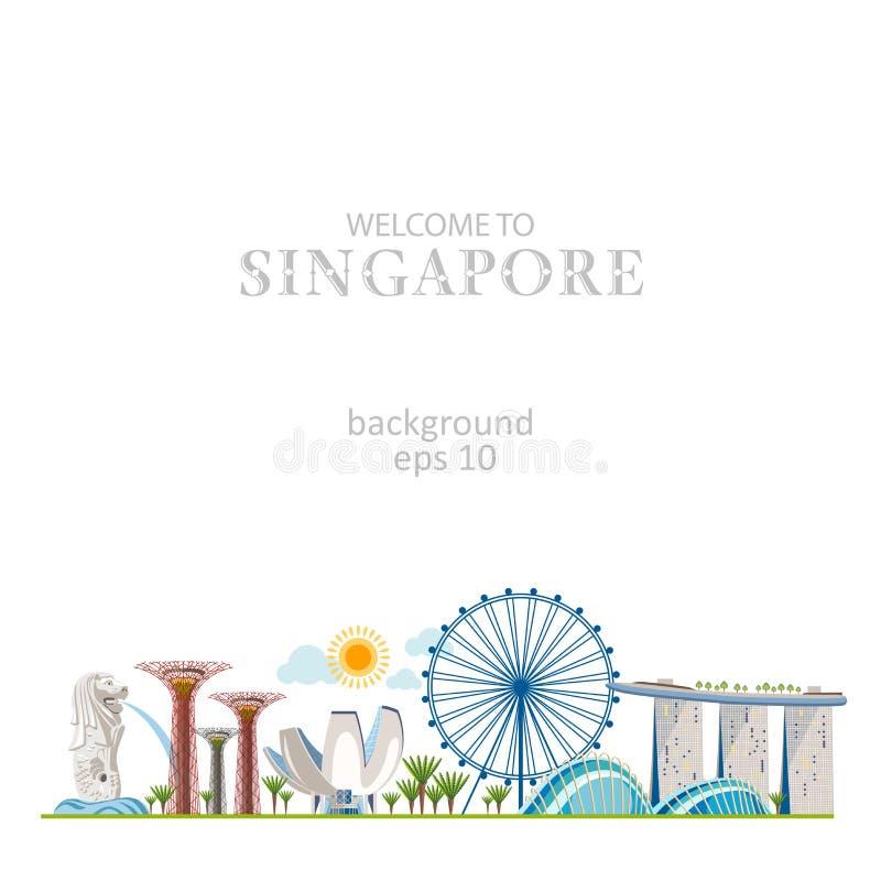 Panorama de Singapour illustration libre de droits