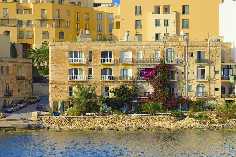 Panorama de St Julians à Malte image libre de droits