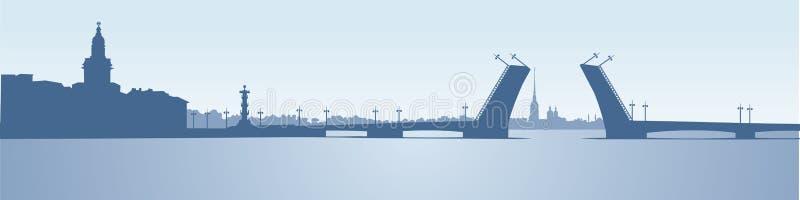 Panorama de St Petersburg, borne limite russe illustration stock