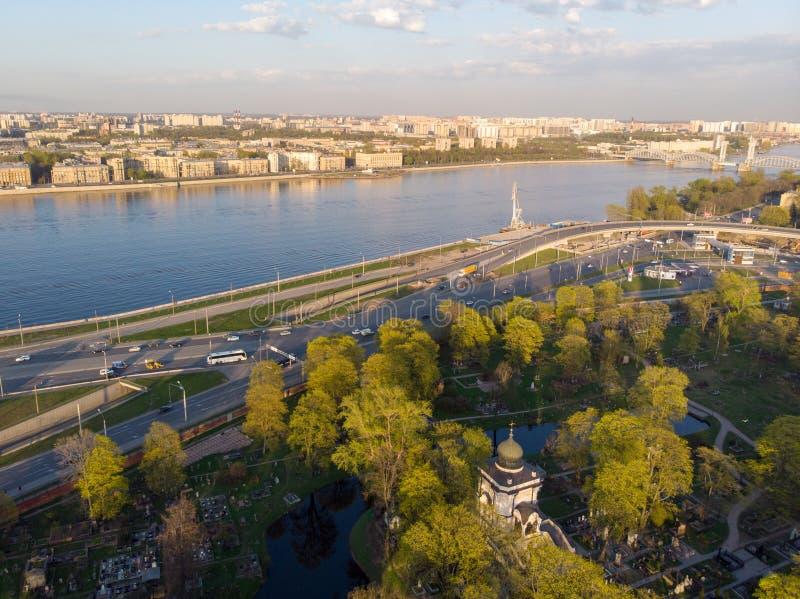 Panorama de St Petersburg Rusia Centro de ciudad Alexander Nevsky Bridge R?o de Neva Alexander Nevsky Square Configuraci?n foto de archivo