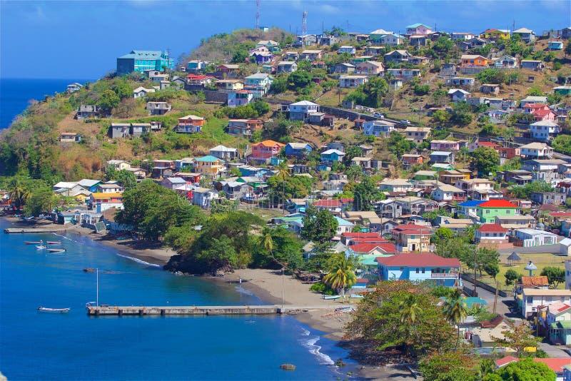 Panorama de St Vincent, del Caribe foto de archivo