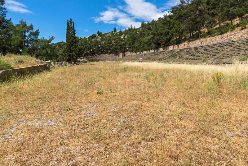 Panorama de stade au site archéologique du grec ancien de Delphes, Grèce photographie stock