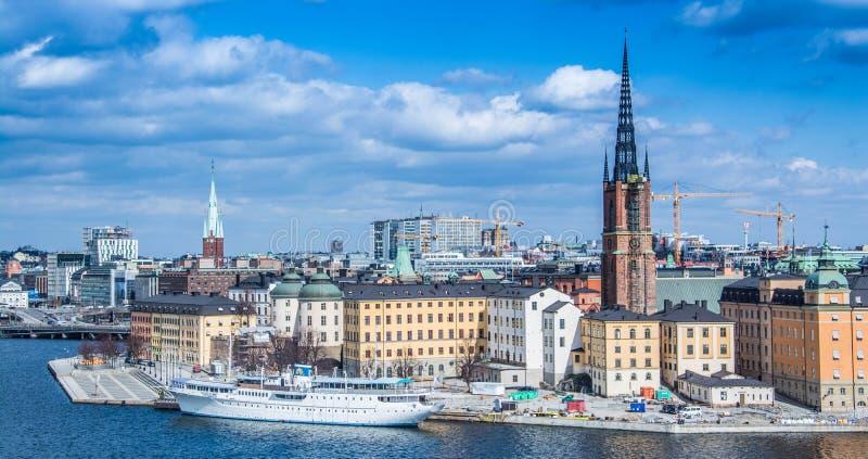 Panorama de Stockholm de Monteliusvägen images stock
