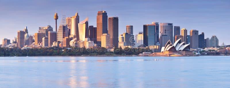 Panorama de Sydney en el amanecer foto de archivo libre de regalías