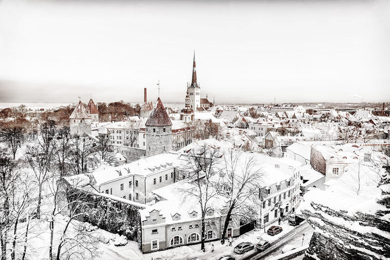 Panorama de Tallinn na manhã do inverno fotos de stock royalty free