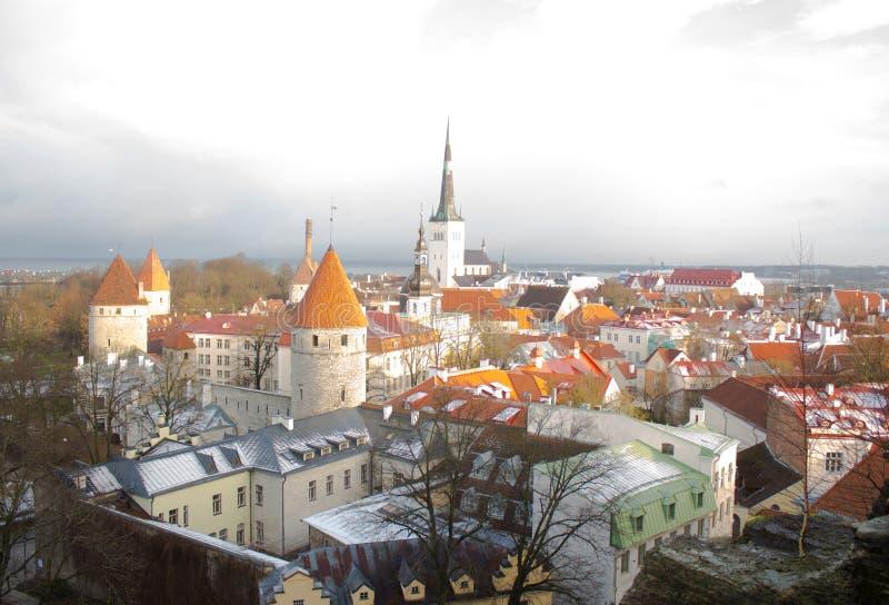 Panorama de Tallinn vieja La visión desde la tapa tallinn Estonia imágenes de archivo libres de regalías