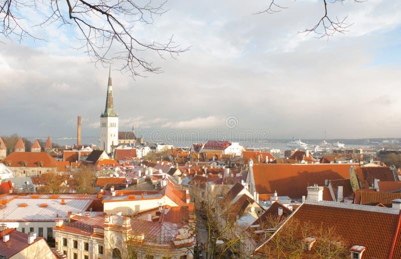 Panorama de Tallinn vieja La visión desde la tapa tallinn Estonia fotos de archivo
