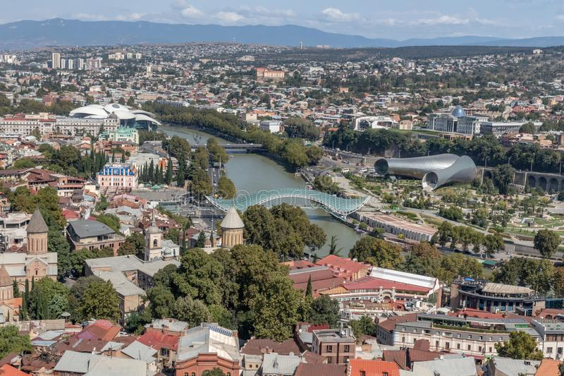 Panorama de Tibilisi, Geórgia fotos de stock royalty free