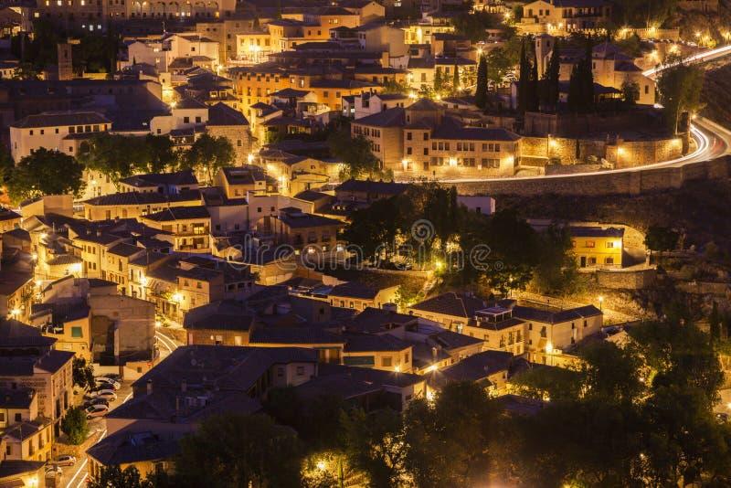 Panorama de Toledo en la noche fotos de archivo libres de regalías