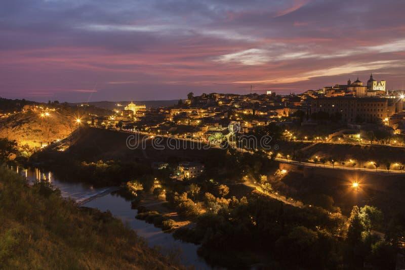 Panorama de Toledo no por do sol fotografia de stock royalty free