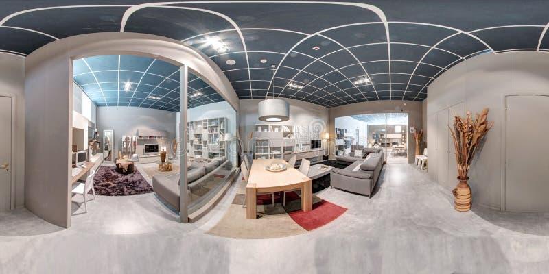 panorama 360 de um interior da sala de exposições da mobília fotos de stock royalty free