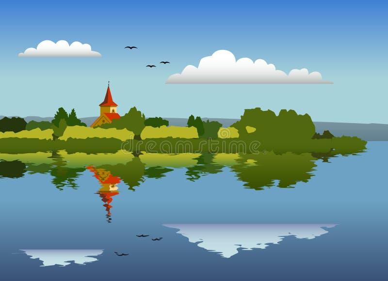 Panorama de una isla con una iglesia fotografía de archivo libre de regalías