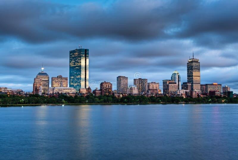 Panorama de una puesta del sol de Boston foto de archivo