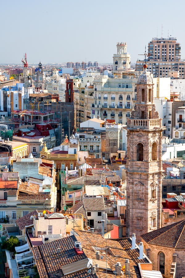 Panorama de Valencia de un punto álgido españa fotografía de archivo