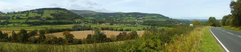Panorama de vallei Usk in Wales het UK. stock fotografie