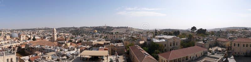 Panorama de vieille ville Jérusalem, Israël de côté du sud Vue supérieure des toits du vieux secteur historique de photographie stock libre de droits