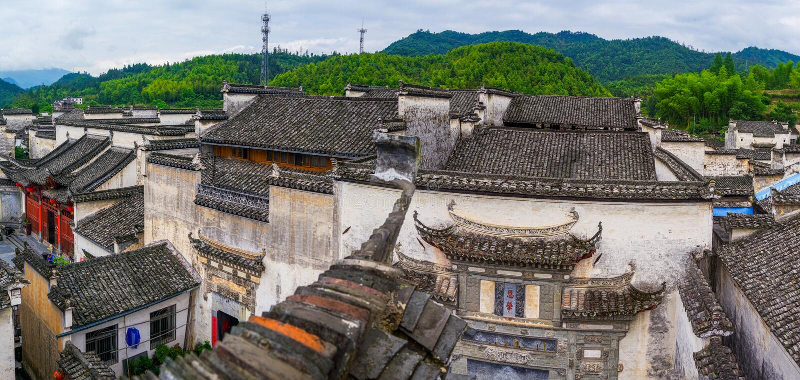 Panorama de village de Xidi photographie stock