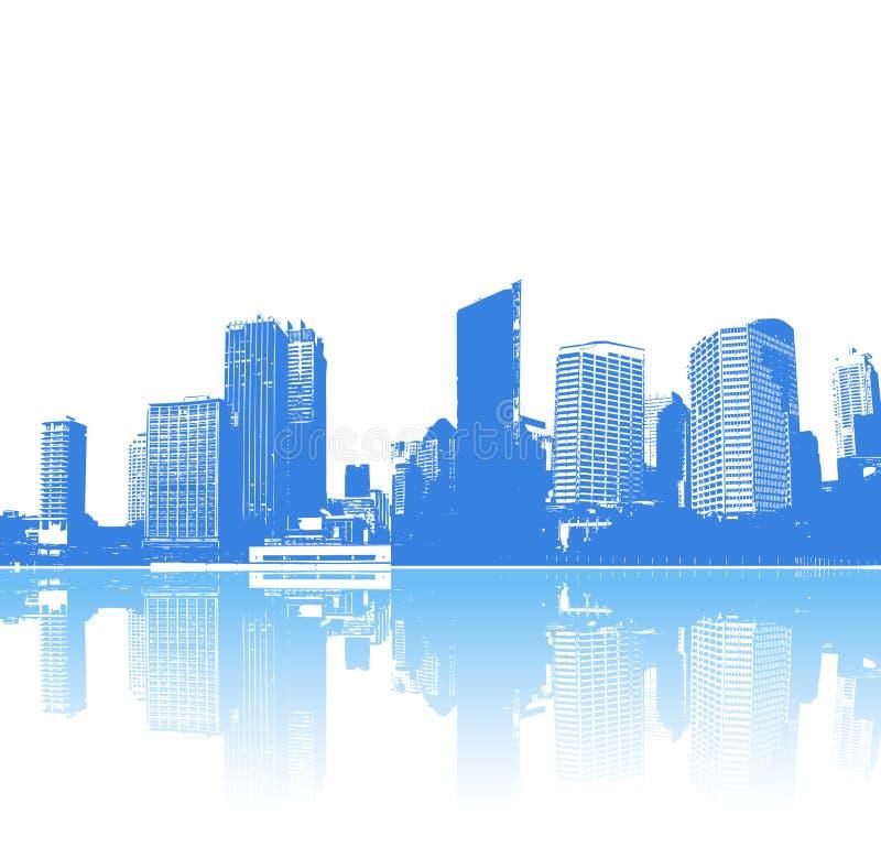 Panorama de ville bleue illustration libre de droits