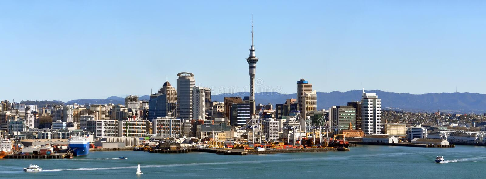 Panorama de ville d'Auckland, Nouvelle Zélande photo stock