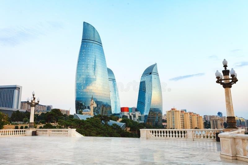 Panorama de ville de Bakou, Azerbaïdjan images libres de droits