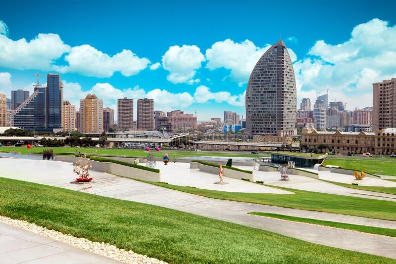 Panorama de ville de Bakou, Azerbaïdjan photos stock