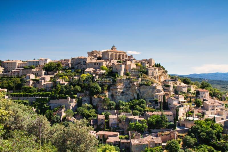 Panorama de ville Gordes de sommet photo libre de droits