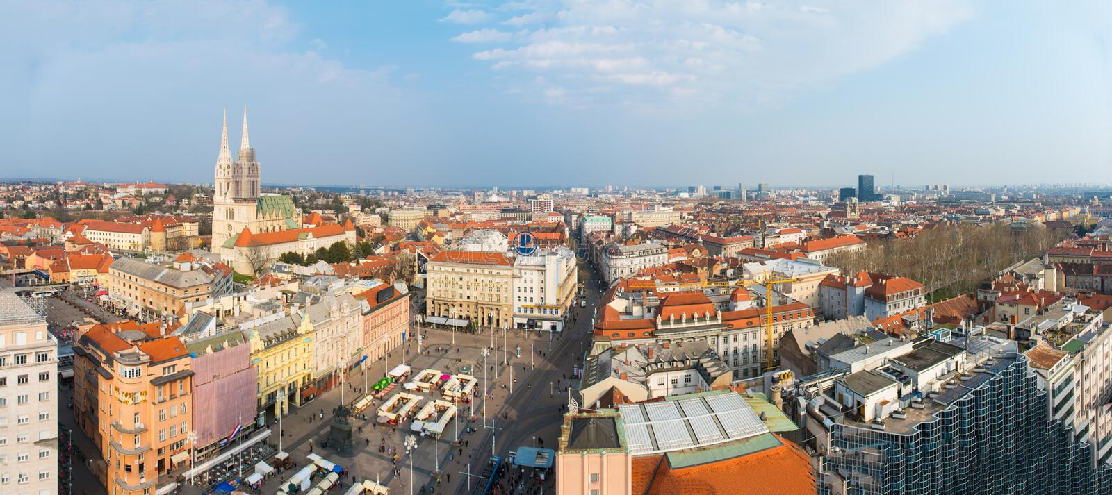 Panorama de ville de Zagreb, Croatie photo stock