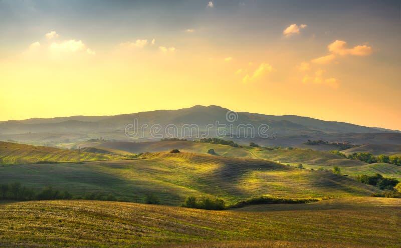 Panorama de Volterra, Rolling Hills, árvores e campos verdes em sóis foto de stock