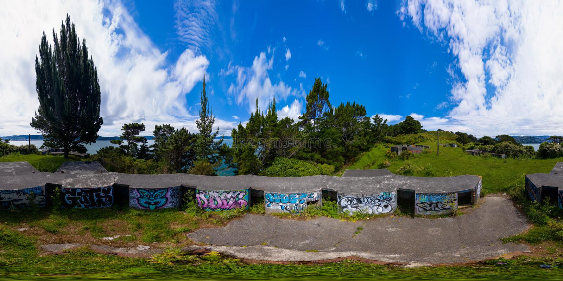 Panorama de 360 VR, depósito em montes de Miramar, Wellington de WWII foto de stock