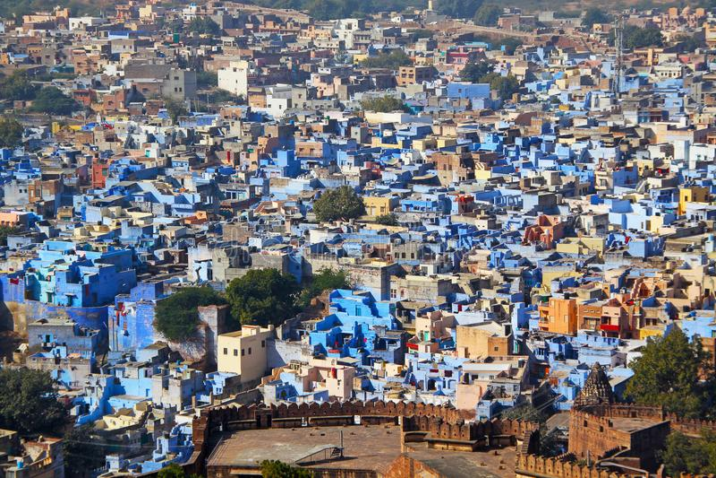 Panorama de vue supérieure de ville de Jodhpur, Ràjasthàn, Inde images libres de droits