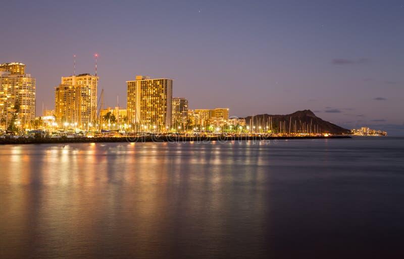 Panorama de Waikiki Honolulu Havaí fotografia de stock