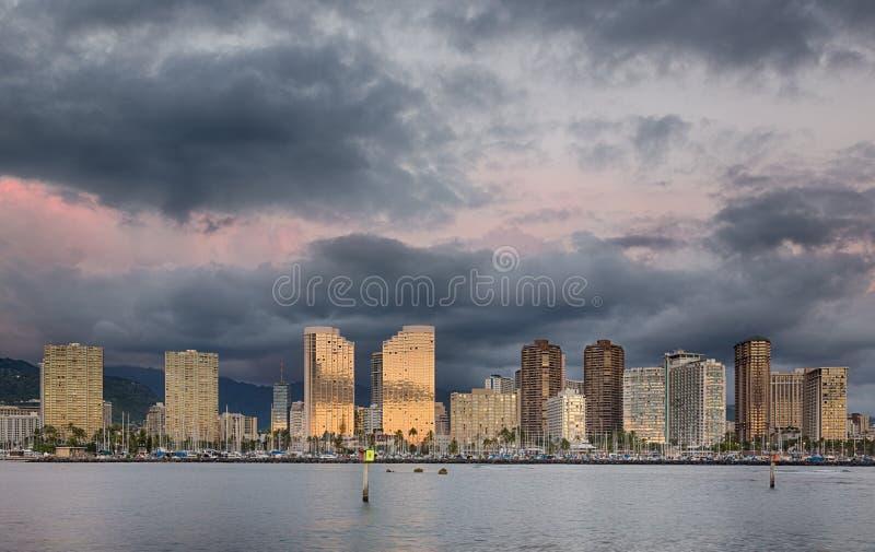 Panorama de Waikiki Honolulu Havaí fotografia de stock royalty free