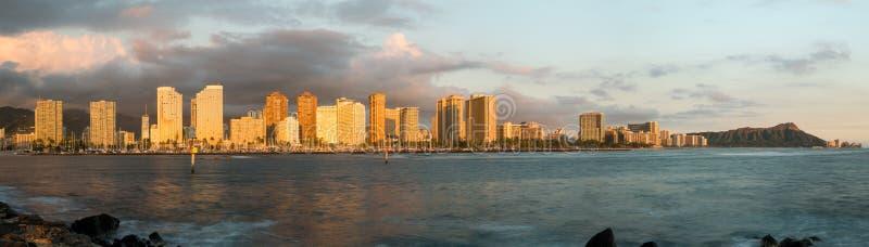 Panorama de Waikiki Honolulu Havaí foto de stock royalty free