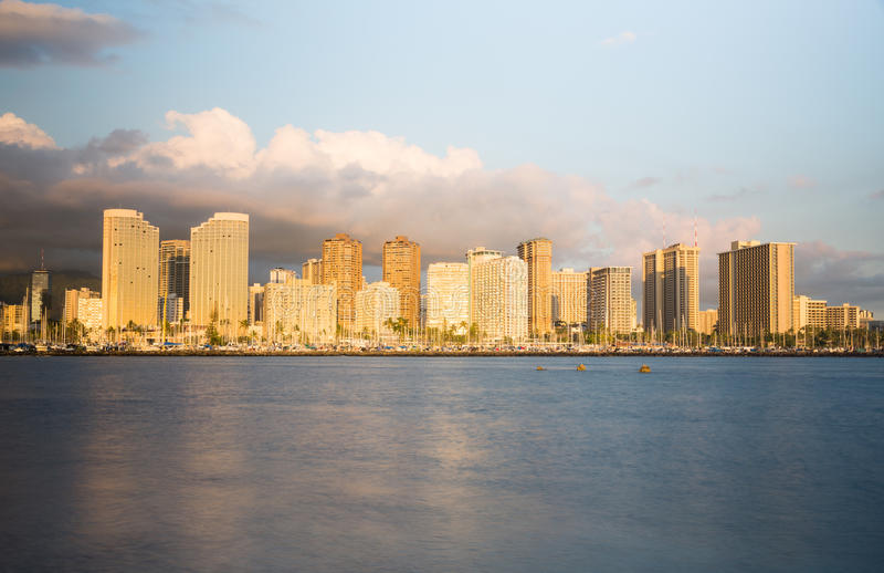 Panorama de Waikiki Honolulu Havaí imagem de stock royalty free