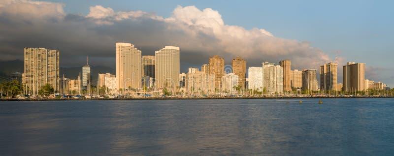 Panorama de Waikiki Honolulu Hawaii imagen de archivo