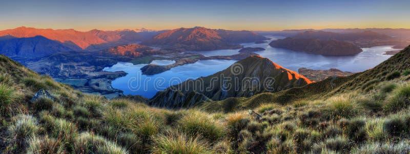 Panorama de Wanaka do lago fotografia de stock