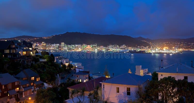 Panorama de Wellington la nuit photo libre de droits