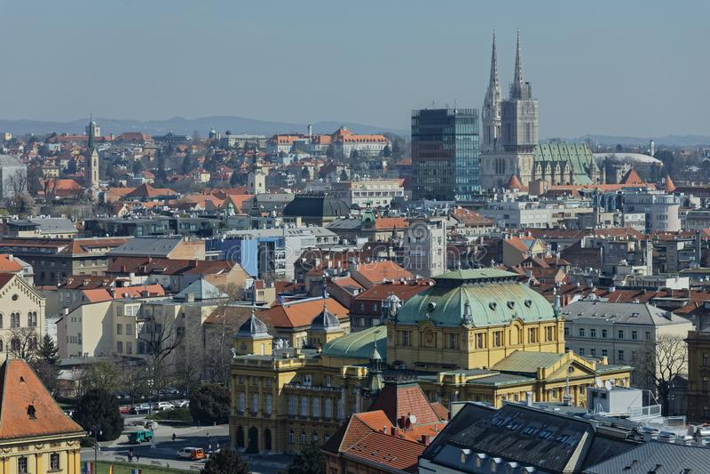Panorama de Zagreb foto de archivo