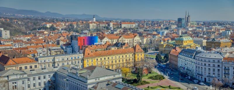 Panorama de Zagreb fotografía de archivo