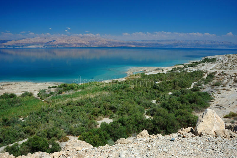 Panorama of Dead Sea and Arava desert, Israel stock images
