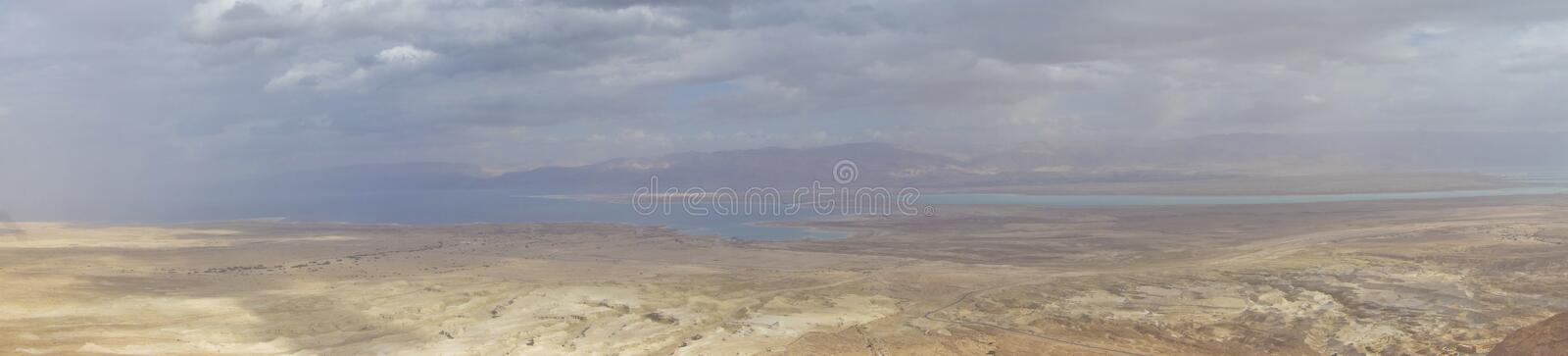 Dead Sea During Winter with Clouds from Masada Hilltop royalty free stock photos