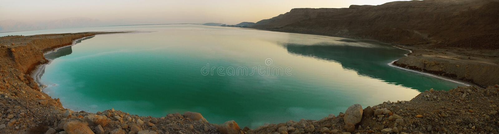 Panorama of Dead Sea at sunset royalty free stock images