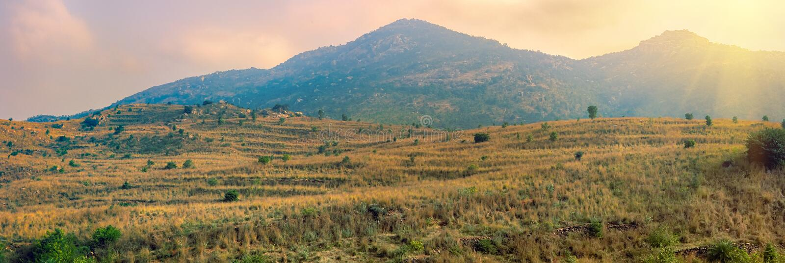 Panorama of Deccan plateau India royalty free stock images