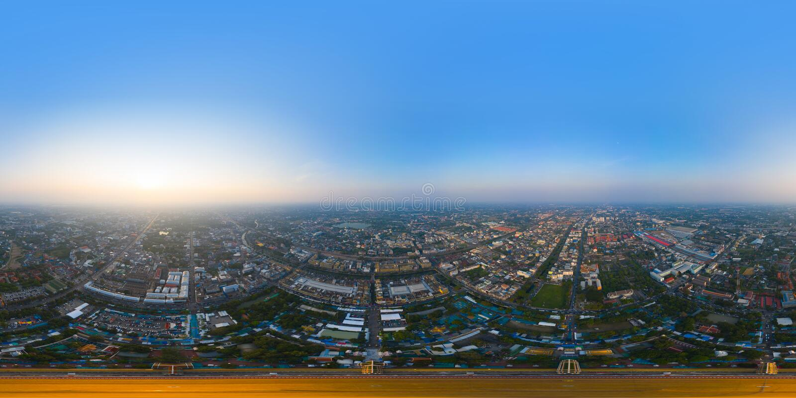 360 panorama by 180 degrees angle seamless panorama view of aerial top view of Phra Pathommachedi temple at sunset. The golden royalty free stock images