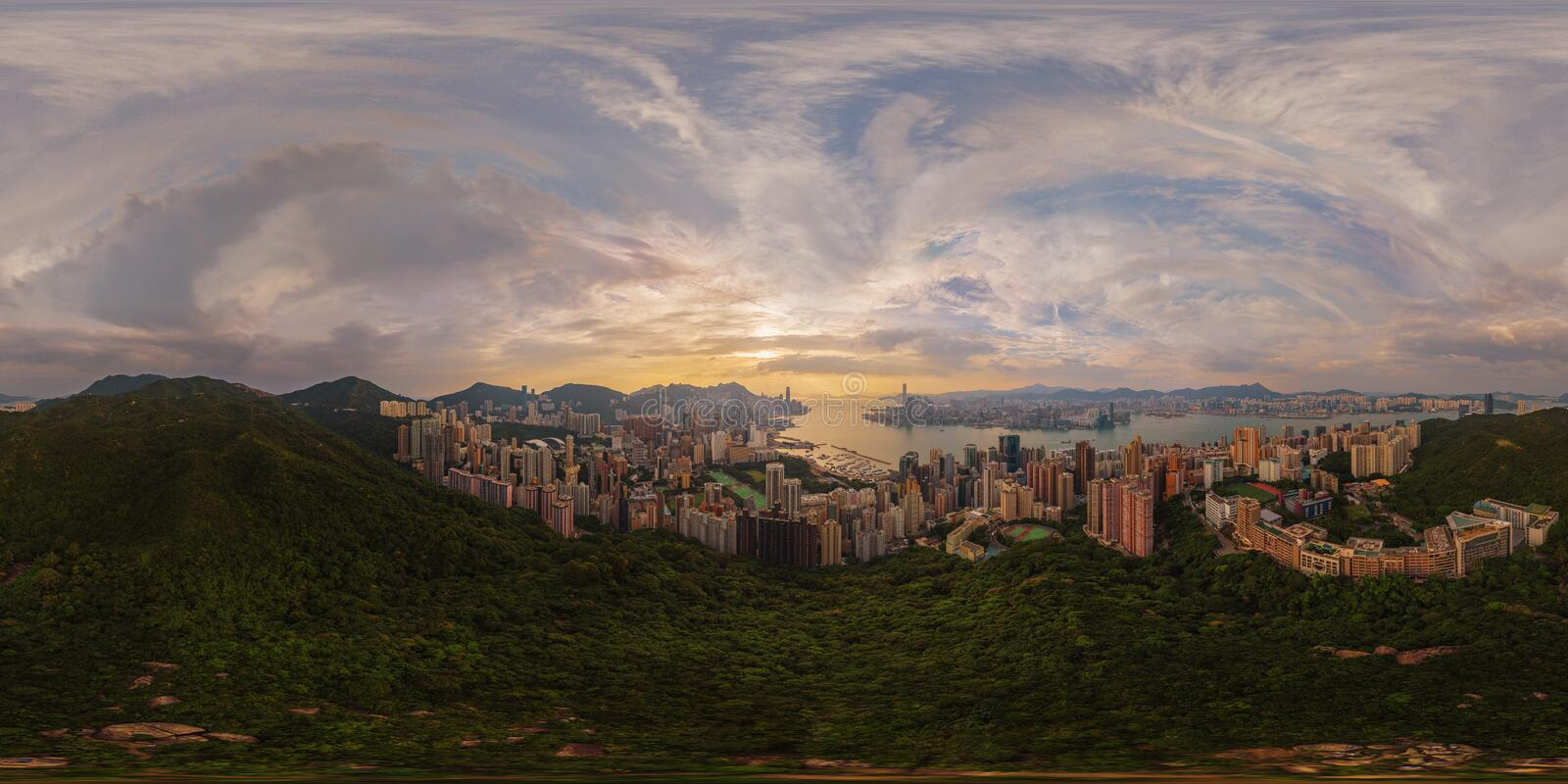 360 panorama by 180 degrees angle seamless panorama view of Down stock image