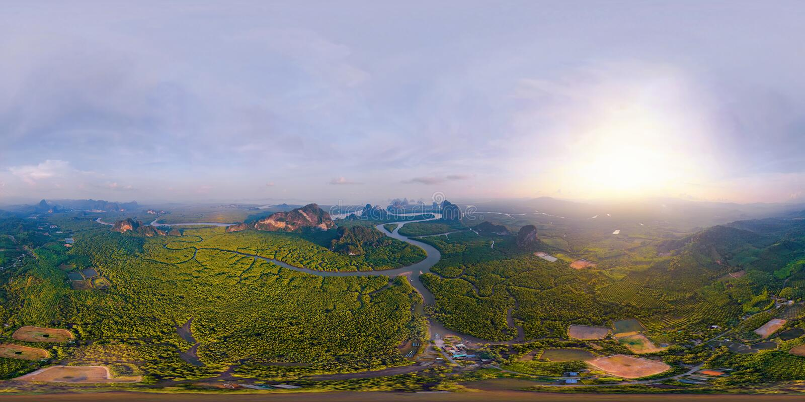 360 panorama by 180 degrees angle seamless panorama view of aerial top view of Samet Nangshe and tropical green forest trees at royalty free stock photography
