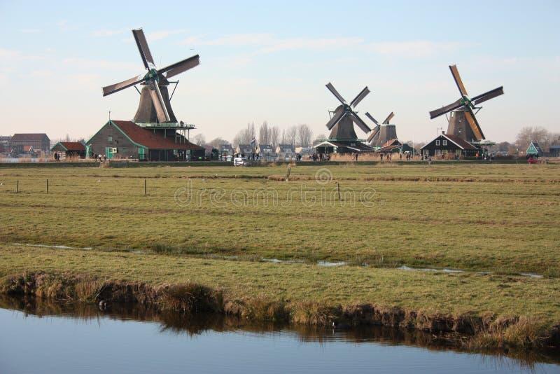 Panorama dei mulini a vento sui fiumi olandesi e dei canali negli schans di Zaanse fotografie stock libere da diritti